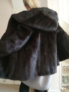 Fur 12 Saga Mink Ranched Jacket Uk Stroller Size 14 Hooded wHqTf7Ap