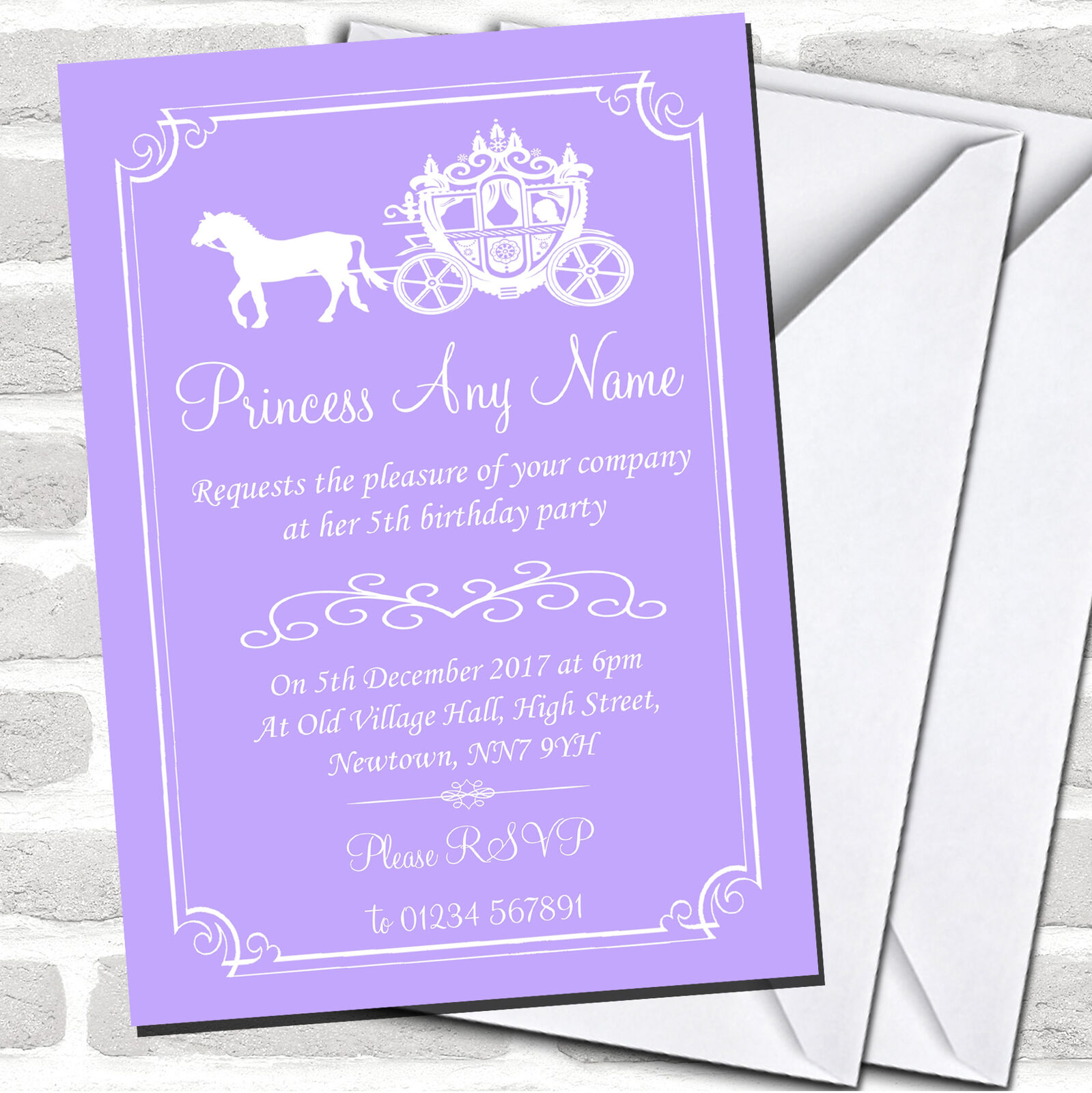 Lila Birthday Lilac Horse Carriage Princess Childrens Party Invitations D15744