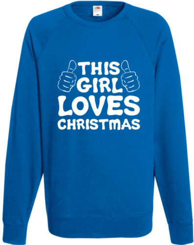 This Girl Loves Christmas Funny Sweatshirt Xmas Gift Jumper Comedy Joke Top H