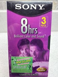Factory Sealed Blank Sony T-160 8-Hour VHS Tapes, 3-Pack - NEW!