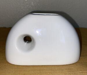 "MCM WHITE Ceramic BUD Vase Mid Century Modern White Pottery Planter3.5"" Tall"