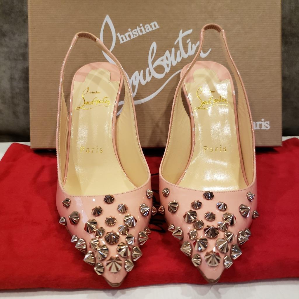 Christian Louboutin DRAMA SLING 100 Spiked Patent Sandals Heels schuhe schuhe schuhe Rosa  945 a4996a