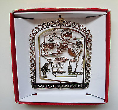 Wisconsin Ornament State Landmarks Brass Travel Souvenir Keepsake Gift