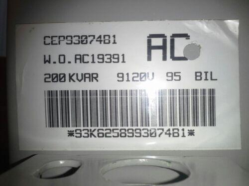 CEP93074B1 60 Hz Capacitor NEW IN BOX 9120V Cooper EX7L 1PH 200 KVAR