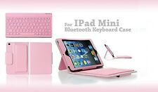 Pink Leather Case w/Removable Wireless Bluetooth Keyboard For Apple iPad Mini