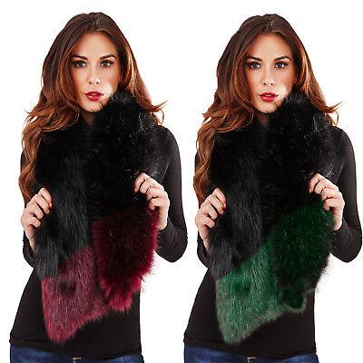 Da Donna In Finta Pelliccia Marmitta Luxury Super Soft Winter Sciarpa Colletto A Contrasto Trim-mostra Il Titolo Originale