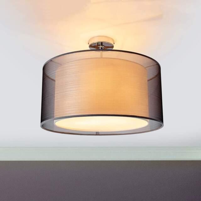 Deckenleuchte Tika Schirm Doppelt Textil Stoff Grau Lampenwelt Deckenlampe E27