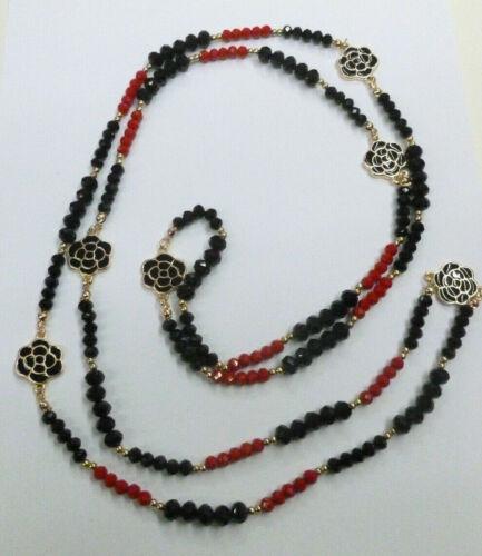 Collana lunga donna color nero e rosso cristalli di vetro e camelie nuova