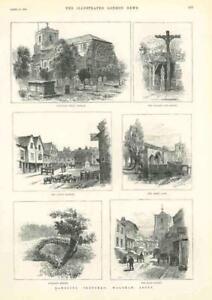 1889-Antique-Print-ESSEX-WALTHAM-ABBEY-CHURCH-MARKET-PILLORY-STOCKS-241