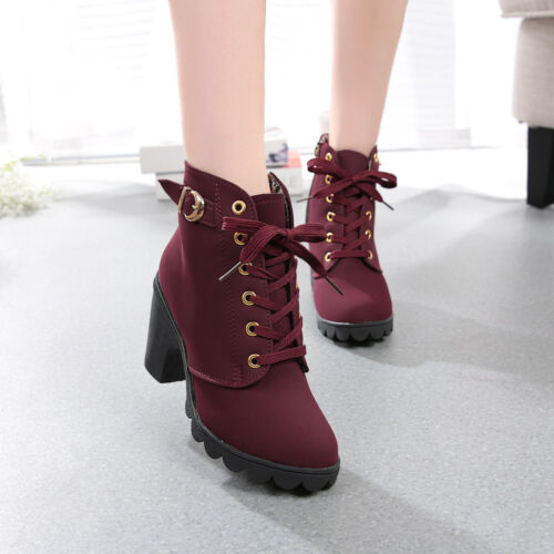 Womens High Heel Lace Up Ankle Boots Ladies Platform Winter Warm Shoes Fashion