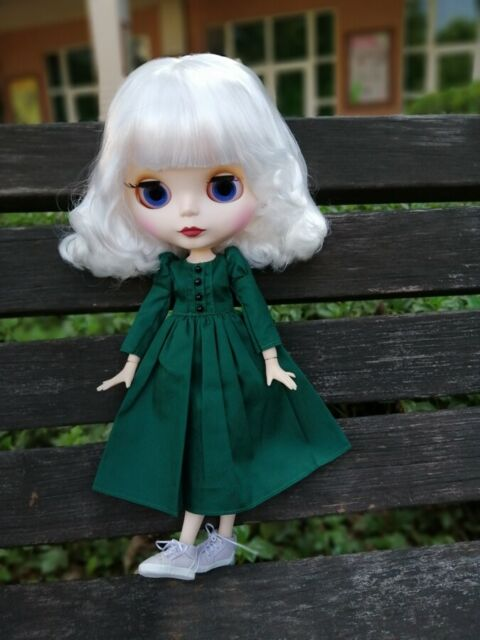 Blythe Nude Doll From Factory Jointed Body Deep Green Short Hair With Bang