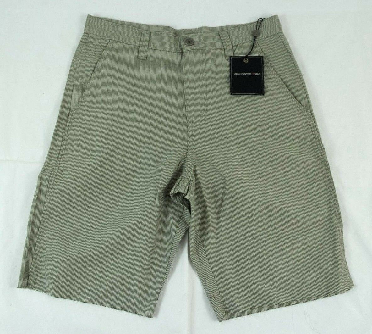 John Varvatos Green Beige Striped Casual Shorts Sz. 30  BNWT 100% Authentic