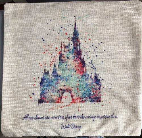 45x45cm Disney Cinderella Castle Quote Cushion Cover BN Xmas