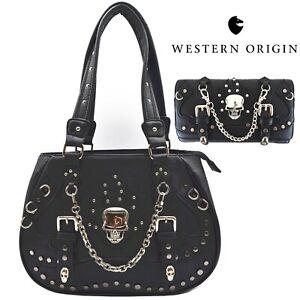 Sugar Skull Punk Handbag Studs Concealed Carry Purse Women Shoulder Bag Wallet