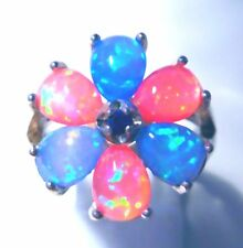 LOVELY BLUE/PINK FIRE OPAL PETAL RING   UK SIZE  P    US SIZE 8