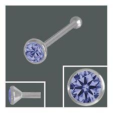 925 Silber Nasenpiercing 3,0 mm, Nasenstecker Kugel Zirkonia Tanzanit
