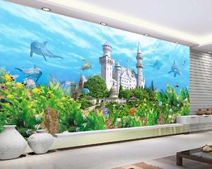 3D Bule Ocean Castle Paper Wall Print Wall Decal Wall Deco Indoor Murals