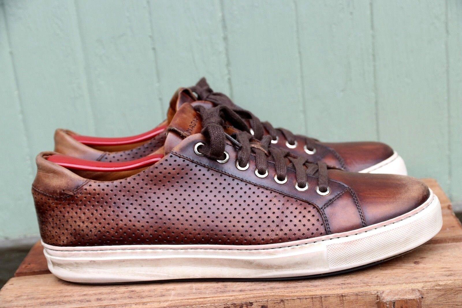 Magnanni en cuir marron LO Décontracté Tennis Chaussures Semelle en caoutchouc blanc taille homme 8.5 M