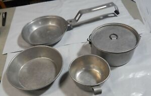 Vintage Boy Girl Scout Mess Kit Camping Outdoor Cook Pots Pan