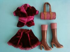 My Scene Barbie Doll Clothes Outfit Velvet Maroon Jacket Skirt Purse Boots Lot