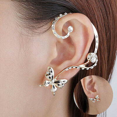 New Fashion Women Crystal Rhinestone Butterfly Cuff Ear Clip Stud Gift Jewelry