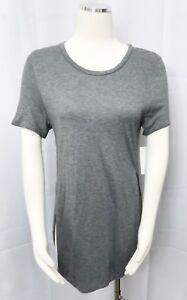 Aritzia-Wilfred-Tunic-Short-Sleeve-T-Shirt-Gray-Stretch-Capucine-Hi-Lo-sz-Small