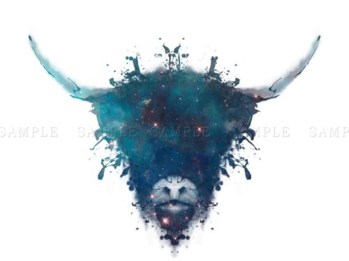 PAINTING DIGITAL GRAPHIC INK SPLAT HIGHLAND COW CE POSTER ART PRINT GIFT LF022