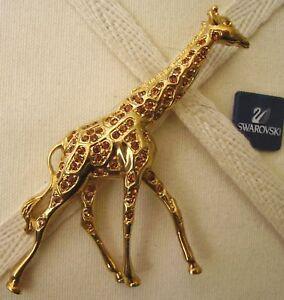 570ddbc46 Image is loading Signed-Swarovski-Golden-Giraffe-Brooch-Pin