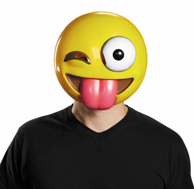 Buy Tongue Out Emoji Mask Emoticon Adult Funny Unique Halloween