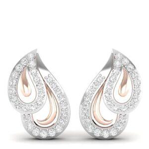0-62-CT-Real-Genuine-Diamond-I1-IJ-Designer-Stud-Earrings-Solid-10K-Rose-Gold