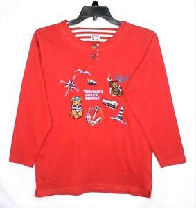 Vintage-Yessica-Womens-Sweatshirt-Small-Embroidered-Teddy-Bear-Nautical-Design