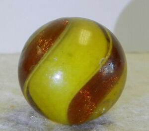 #12823m Vintage German Handmade Colored Glass Ribbon Lutz Marble .90 Inches
