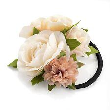 Múltiple Flor Pelo Elástico Crema Natural melocotón tonos con verde hojas
