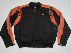 Mens XL Harley Davidson nylon orange black full zip ...