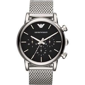 Emporio Armani Mens Luigi Black and Silver Mesh Bracelet Watch ... 4f6cb9b18b43