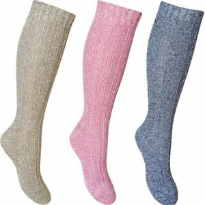 3 Pairs Adult Women Thermal Warm Cosy Winter Coloured Thick Socks Walking Hiking