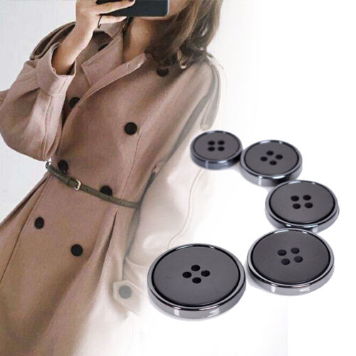 10Pcs Flat Round Four Hole Buttons Suit Coat Windbreaker Clothes DIY Sewing Use