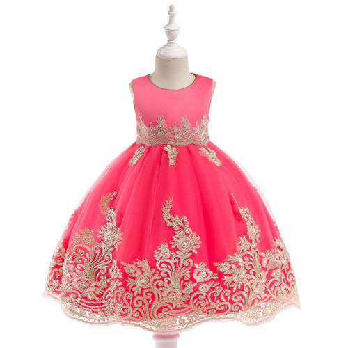 Embroidery Flower Girl Dress Pageant Birthday Wedding Party Dresses for Kid Baby