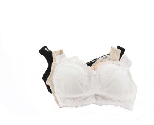 Rhonda Shear 3Pc Pinup Bra Removable Pads Black White Nude 1X NEW 608-745