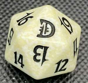1 White SPINDOWN Die 10th 20 sided Spin Down Dice MtG Magic the Gathering