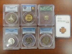 US Coin Collection Sets Silver Coins Proof Sets NGC // PCGS 2 Wheat Rolls