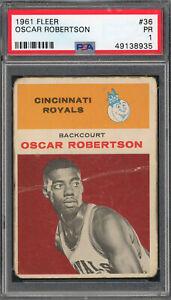 Oscar Robertson Cincinnati Royals 1961 Fleer Basketball Rookie Card RC #36 PSA 1