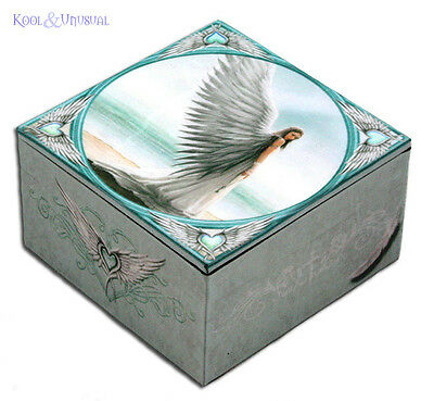 """Anne Stokes Trinket Jewellery Box with Mirror: """"Spirit Guide"""" Guardian Angel"""