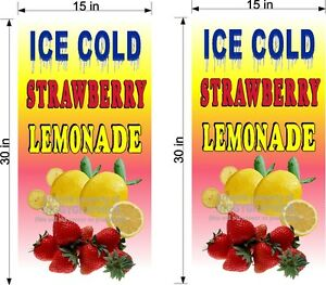 PAIR-OF-15-034-X-30-034-VINYL-BANNERS-STRAWBERRY-LEMONADE
