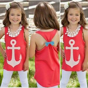 Kid-Baby-Girls-Anchor-Tank-Tops-Bowknot-Sleeveless-Tees-T-Shirt-Clothes-4-12Y