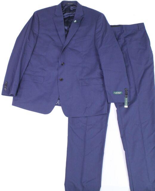 Lauren By Ralph Lauren Mens Suit Set Blue Size 40 Two Button Wool $600 #006