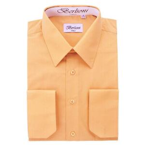Berlioni-Italy-Men-039-s-Convertible-Cuff-Solid-Italian-French-Dress-Shirt-Peach