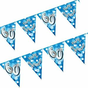 4-M-Happy-60th-Anniversaire-Age-Blue-Sparkle-Banniere-Drapeau-Bunting-Party-Decoration