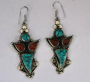 Ethnic-handmade-classic-hook-sterling-silver-earrings-tops-turquoise-ER34