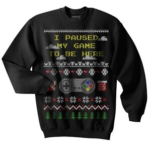 Video Game Ugly Christmas Sweater 8 Bit Santa Claus Controller